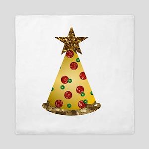 sequin pizza christmas tree Queen Duvet