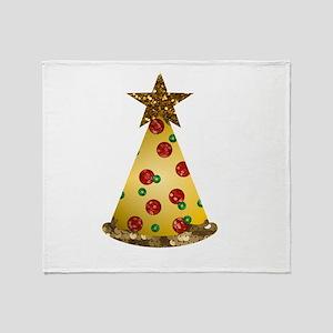 sequin pizza christmas tree Throw Blanket