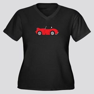 Red Frogeye Women's Plus Size V-Neck Dark T-Shirt