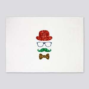 christmas hipster nerd 5'x7'Area Rug