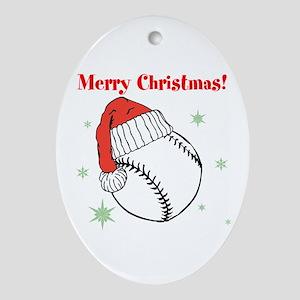 MerryChristmasBaseball Oval Ornament
