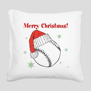MerryChristmasBaseball Square Canvas Pillow