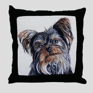 adorable yorkie Throw Pillow