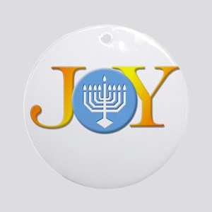 Joy_Menorah Round Ornament
