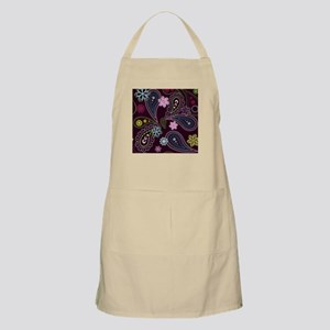 PAISLEY AND FLOWERS ON EGGPLANT Apron