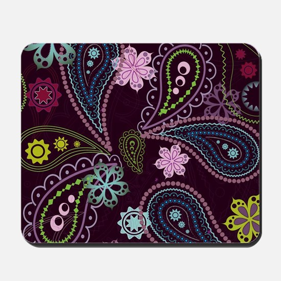 PAISLEY AND FLOWERS ON EGGPLANT Mousepad