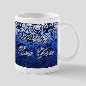 Happy New Year Blue Swirls Mugs