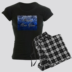 Happy New Year Blue Swirls Pajamas