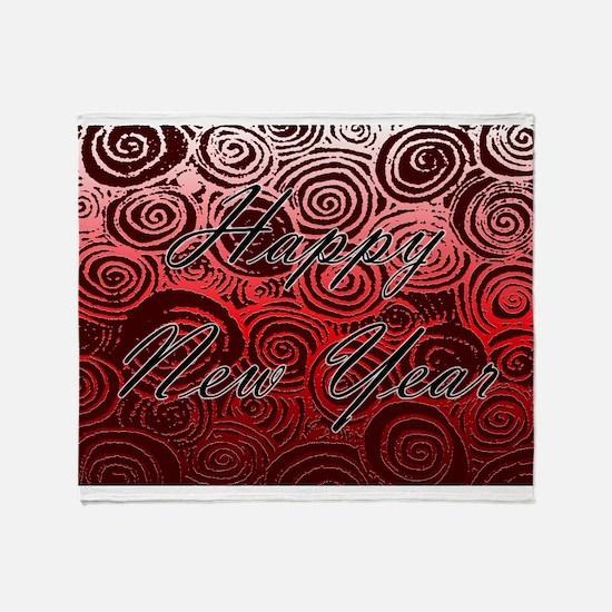 Happy New Year Red Swirls Throw Blanket
