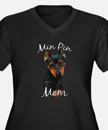 Min Pin Mom2 Women's Plus Size V-Neck Dark T-Shirt
