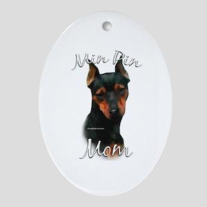 Min Pin Mom2 Oval Ornament