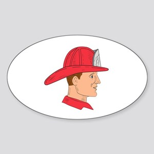 Fireman Firefighter Vintage Helmet Drawing Sticker
