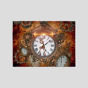 Steampunk, clock with cute giraffe 5'x7'Area Rug