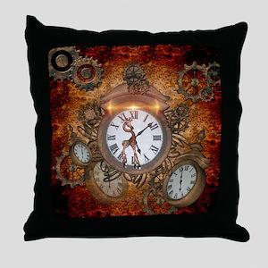Steampunk, clock with cute giraffe Throw Pillow
