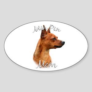 Min Pin Mom2 Oval Sticker