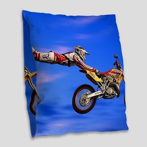 Motocross Freestyle Burlap Throw Pillow
