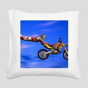 Motocross Freestyle Square Canvas Pillow