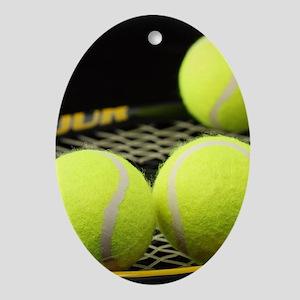Tennis Balls And Racquet Oval Ornament
