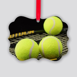 Tennis Balls And Racquet Picture Ornament