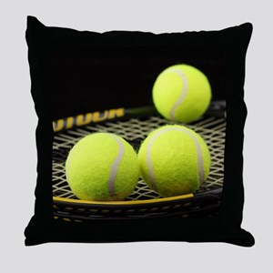 Tennis Balls And Racquet Throw Pillow