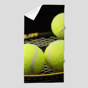 Tennis Balls And Racquet Beach Towel