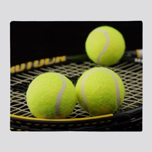 Tennis Balls And Racquet Throw Blanket