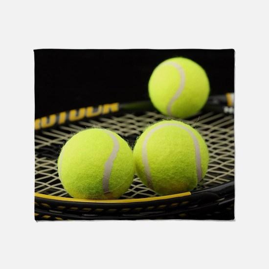 Tennis Balls And Racquet Throw Blanket
