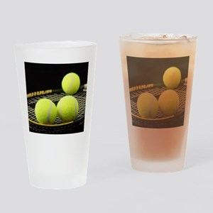 Tennis Balls And Racquet Drinking Glass
