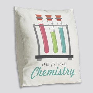 Love Chemistry Burlap Throw Pillow
