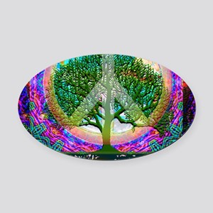 Tree of Life World Peace Oval Car Magnet