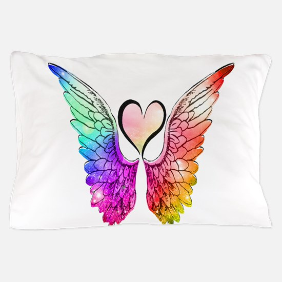 Angel Wings Heart Pillow Case