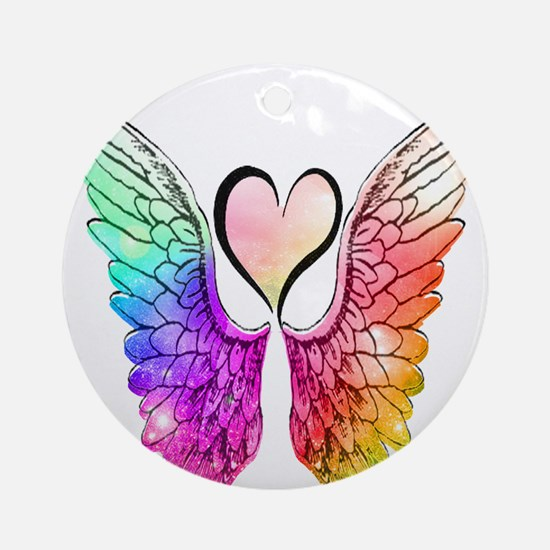 Angel Wings Heart Round Ornament