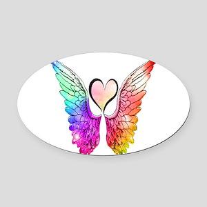 Angel Wings Heart Oval Car Magnet