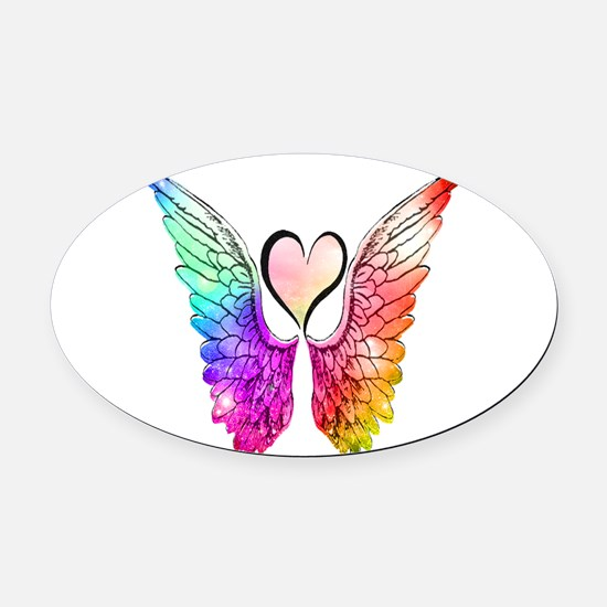 Angel Wings Heart Oval Car Magnet
