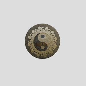 Yin Yang in tan colors with tree of li Mini Button