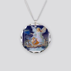 Guardian angel with children Necklace Circle Charm