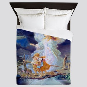 Guardian angel with children crossing Queen Duvet
