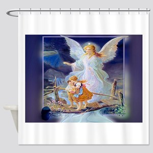 Guardian angel with children crossi Shower Curtain