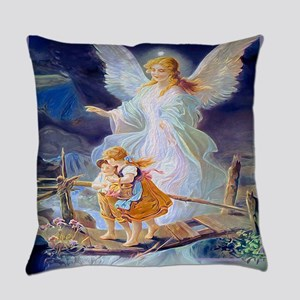 Guardian angel with children cross Everyday Pillow