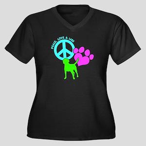 PEACE,LOVE,L Women's Plus Size V-Neck Dark T-Shirt