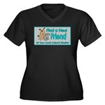 Find a New Friend Women's Plus Size V-Neck Dark T-