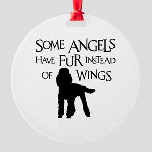 Poodle Angel Round Ornament