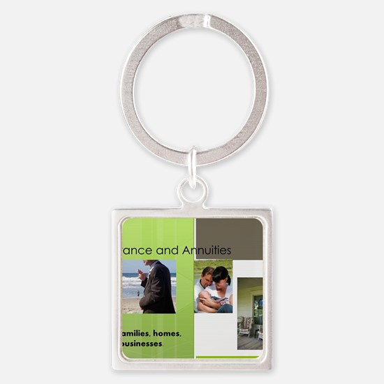 Cute Life insurance Square Keychain