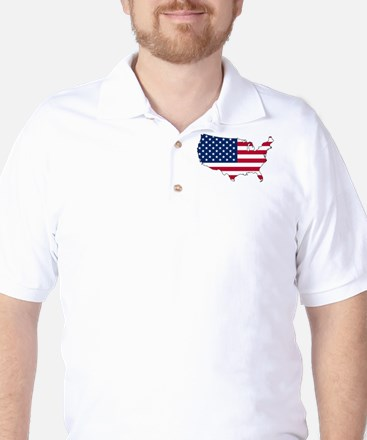 USA Flag Map Golf Shirt