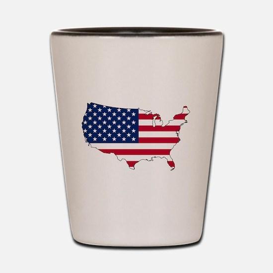 USA Flag Map Shot Glass