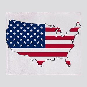 USA Flag Map Throw Blanket