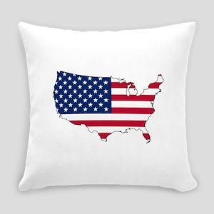 USA Flag Map Everyday Pillow
