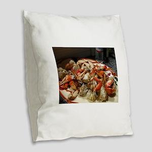 cracked crab dinner Burlap Throw Pillow