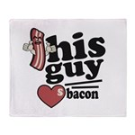 This Guy Loves Bacon Throw Blanket