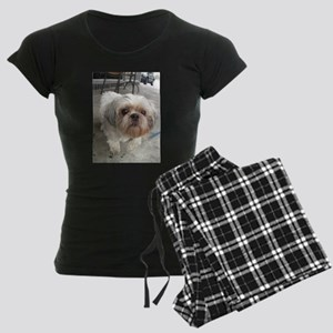 small dog at cafe Women's Dark Pajamas